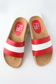 LFL Affect Red Multi Striped Slide Sandals at Lulus.com!