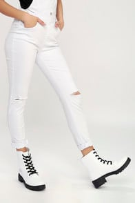 Effy White Lace-Up Combat Boots at Lulus.com!