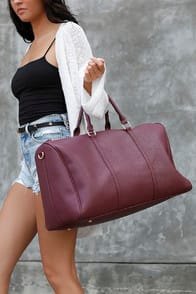 Stay the Night Burgundy Weekender Bag at Lulus.com!