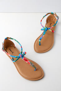 Shore Blue Multi Tropical Print Ankle Strap Flat Sandals at Lulus.com!