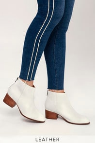 FLOODPLAIN WHITE LEATHER ANKLE BOOTIES at Lulus.com!
