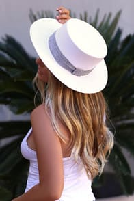 Yvette White Woven Boater Hat at Lulus.com!
