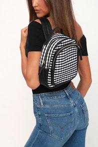 Clarissa Black and White Gingham Backpack at Lulus.com!