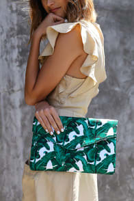 Sweet Leaf Green Leaf Print Envelope Clutch at Lulus.com!