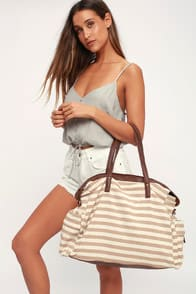 FIRST CLASS TAN STRIPED WEEKENDER BAG at Lulus.com!