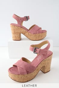 Flaire Rose Pink Suede Leather Cork Platform Sandals at Lulus.com!