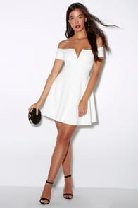 Play the Party White Off-the-Shoulder Skater Dress at Lulus.com!