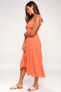 LEONI CORAL PINK TIE-STRAP SMOCKED SWIM COVER-UP at Lulus.com!