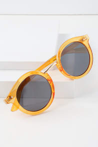 HALO ORANGE ROUND SUNGLASSES at Lulus.com!