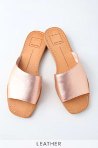 CATO ROSE GOLD LEATHER SLIDE SANDALS at Lulus.com!