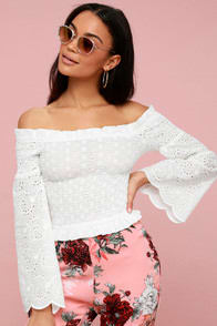 Lulus Sivain White Lace Smocked Off-the-Shoulder Top at Lulus.com!