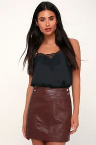Retro Burgundy Vegan Leather Bodycon Mini Skirt at Lulus.com!