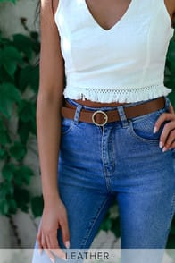 LEAVE IT TO ME TAN LEATHER BELT at Lulus.com!