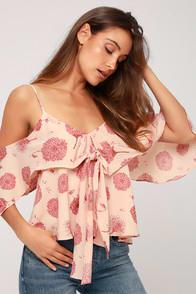 Robina Blush Pink Floral Print Tie Front Off the Shoulder Top at Lulus.com!