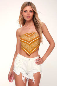 CATCH A WAVE MUSTARD YELLOW PRINT STRAPLESS HANDKERCHIEF TOP at Lulus.com!