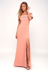 Aveline Mauve Pink Off-the-Shoulder Maxi Dress at Lulus.com!