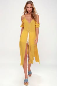 Sandy Cay Golden Yellow Crocheted Cover-Up at Lulus.com!