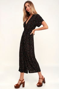 Alena Black Floral Print Short Sleeve Culotte Jumpsuit at Lulus.com!