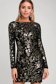 Dress the Population Lola Black and Gold Sequin Velvet Dress at Lulus.com!