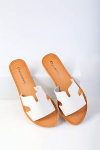 Ronnie White Slide Sandals at Lulus.com!