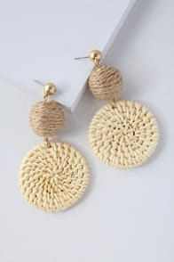 Cullen Cream Woven Earrings at Lulus.com!