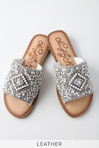 Susanna White Leather Rhinestone Slide Sandals at Lulus.com!