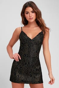 Obey Dominique Gold and Black Lace Mini Dress at Lulus.com!