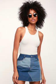 CHANGE YOUR TONE BLUE MULTI DENIM MINI SKIRT at Lulus.com!