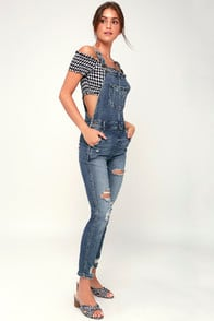 Griffin Medium Wash Distressed Denim Overalls at Lulus.com!