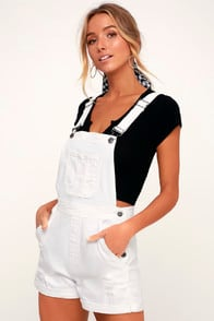 CELESTE WHITE DISTRESSED SHORT OVERALLS at Lulus.com!