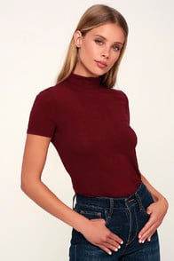 BEDFORD BURGUNDY MOCK NECK TOP at Lulus.com!