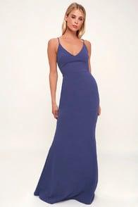 Infinite Glory Slate Blue Maxi Dress at Lulus.com!