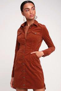 Free People Dynomite Burnt Orange Corduroy Long Sleeve Dress at Lulus.com!