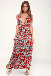 More Flower to Ya Rust Red Floral Print Backless Maxi Dress at Lulus.com!