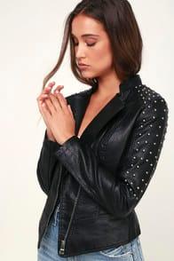 Hello Moto Black Vegan Leather Studded Moto Jacket at Lulus.com!