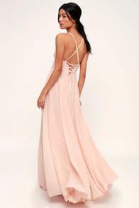 Remember Tonight Blush Pink Lace-Up Maxi Dress at Lulus.com!