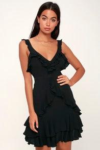 CARMELA BLACK RUFFLED MINI DRESS at Lulus.com!