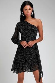 Honey Punch Corsica Black Print One-Shoulder Dress at Lulus.com!