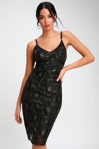 Shine In The Night Black and Gold Lace Midi Dress at Lulus.com!