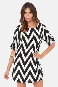 Can You Zig It? Black Chevron Print Dress at Lulus.com!