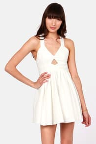 Marilyn Mon-Whoa! Cutout Ivory Dress at Lulus.com!