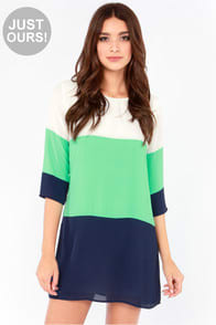 LuLu*s Exclusive Citrus Grove Blue Color Block Shift Dress at Lulus.com!